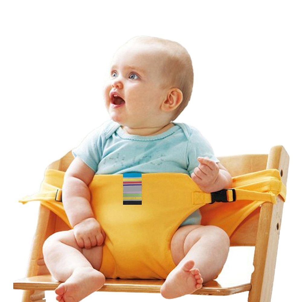 Portable Washable Baby Travel High Chair Booster Safety Seat Strap Harness Belt for Baby Kid Toddler (Yellow) SHENYUN