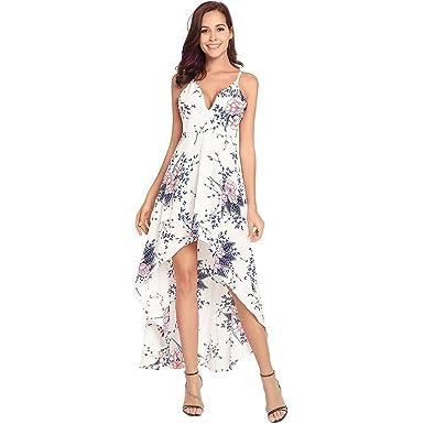 f5499f874e0990 Damen Kleider Böhmen Ferien Rock Druck- und Riemen-Kleid: Amazon.de ...