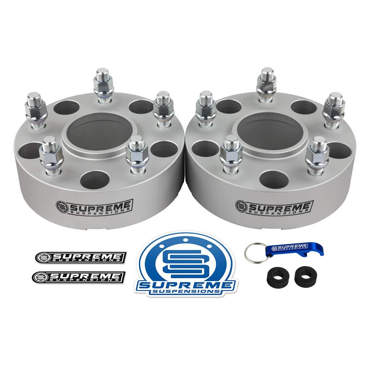 Supreme Suspensions - 2pc 1.5'' Hub Centric Wheel Spacers for 2012-2018 Dodge Ram 1500 2WD 4WD 5x5.5'' (5x139.7mm) BP with M14x1.5 Studs 77.8mm Center Bore w/Lip [Silver] by Supreme Suspensions