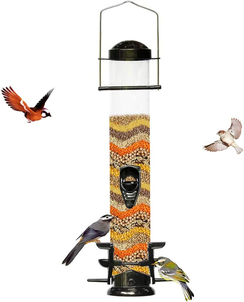 Nature's Rhythm Bird Feeder Plastic Outdoor Hanging Classic Tube Feeder Weatherproof and Water Resistant