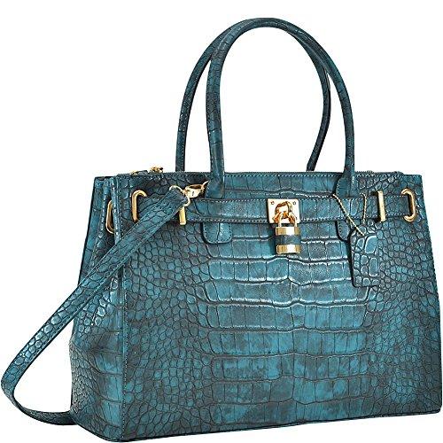 Dasein Faux Crocodile Leather Padlock Shoulder Bags (Navy Blue)