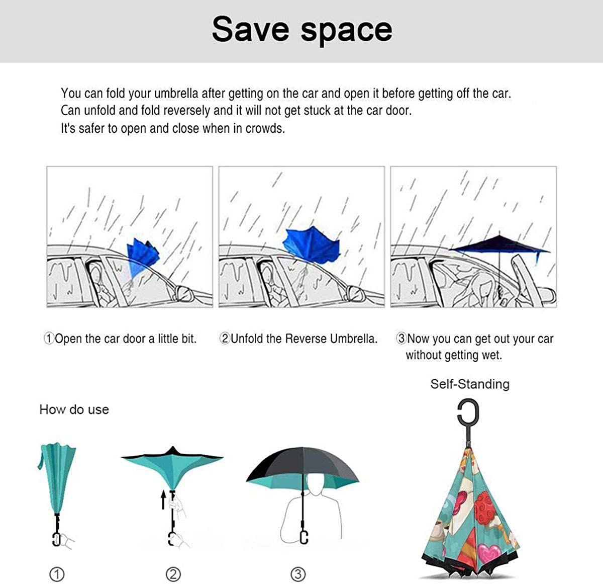 Romantic Seamless Pattern Vector Image Reverse Umbrella Double Layer Inverted Umbrellas For Car Rain Outdoor With C-Shaped Handle Personalized