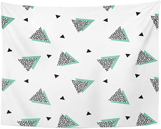Tarolo Decor Wall Tapestry Colorful Pattern Triangles in Nineties Green 90S Black Geometric Retro 80 x 60 Inches Wall Hanging Picnic for Bedroom Living Room Dorm