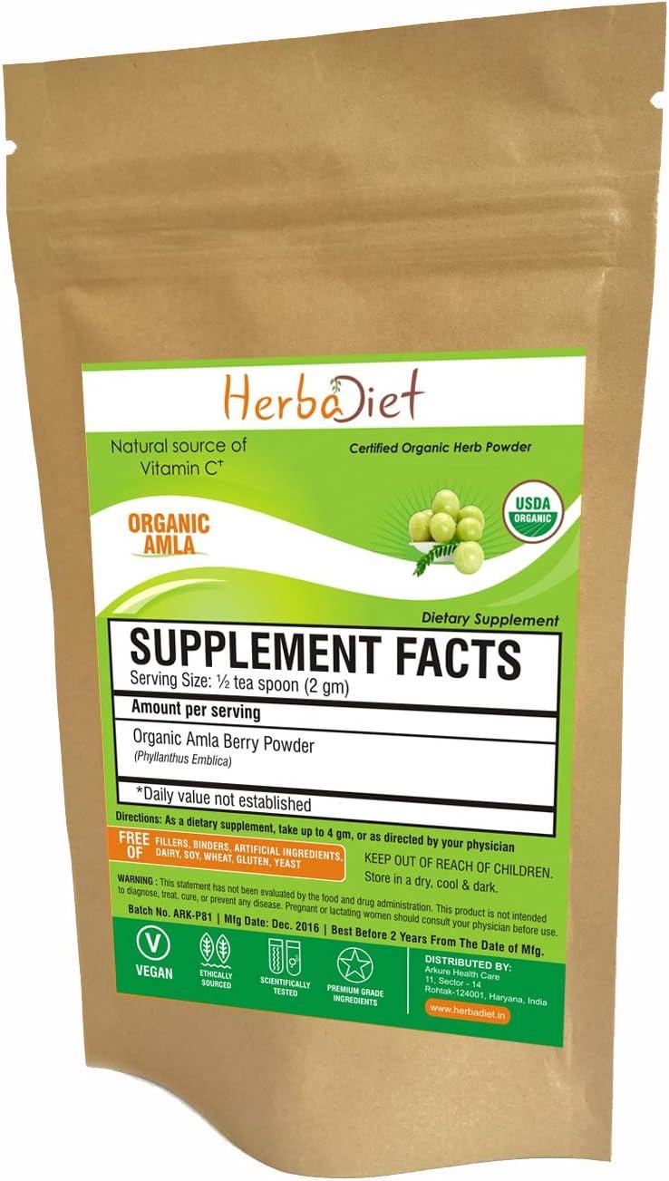 Organic Amla Powder | Indian Gooseberry 500mg | Immune System Support Supplement Antioxidant Energy Vitality Detox | Natural Vitamin C (100 Gram)