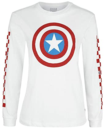 Amazon.com: Vans Women's X Marvel Captain Shields L/S Boyfriend Tee ...