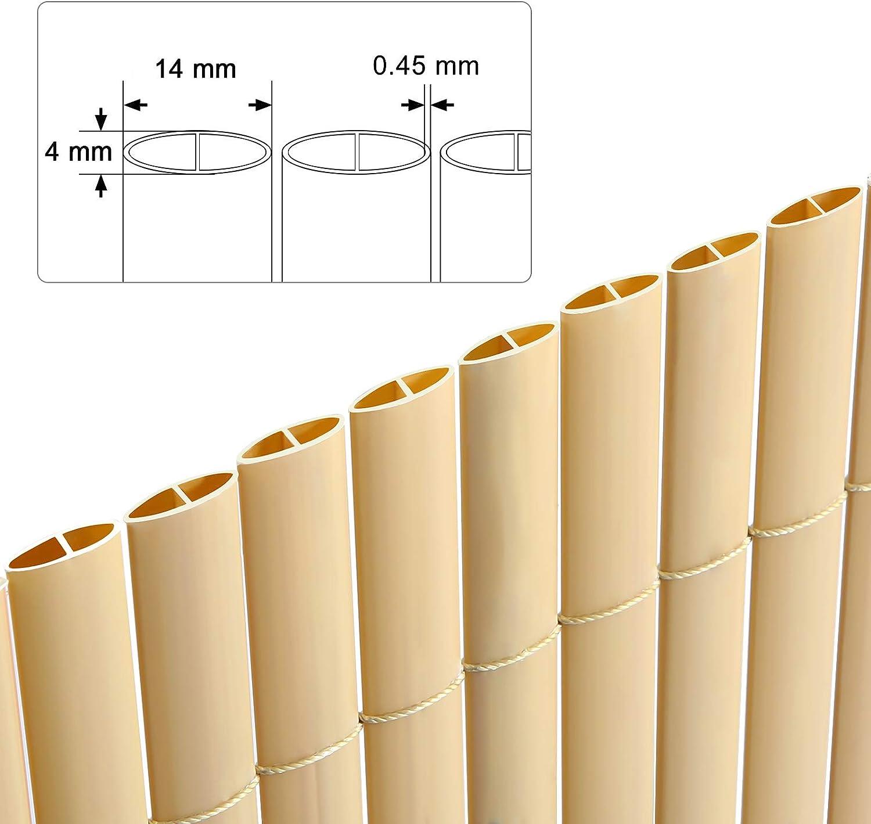 SONGMICS Canniccio Frangivista in Plastica Paravista di 3 x 1 m Persiane Paravento per Esterno con Costola di Rinforzo Terrazza e Balcone per Recinzione di Giardino PVC Marrone GPF103B L x A
