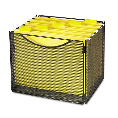 Safco Products Onyx Mesh Letter-Size File Cube 2170BL Black, Black Powder Coat Finish, Durable Steel Mesh Construction