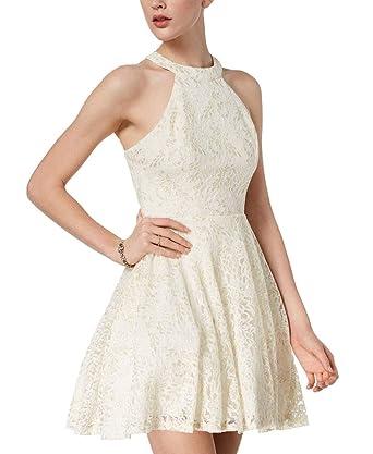 a5d456b6 B Darlin Juniors' Metallic Lace Halter Dress (Off-WhiteGold, 78 ...