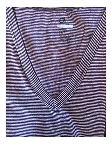 Gap Women's Breathe Stripe V-neck Tee Shirt S M L XL (Medium, Plum & Grey)