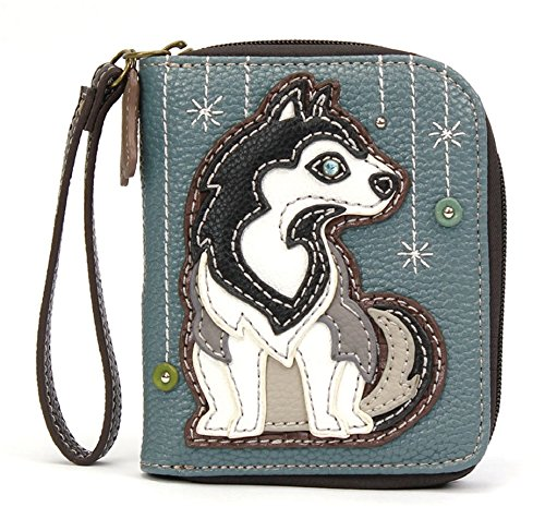 CHALA Zip Around Wallet, Wristlet, 8 Credit Card Slots, Sturdy Pu Leather, Husky - BlueGray from CHALA
