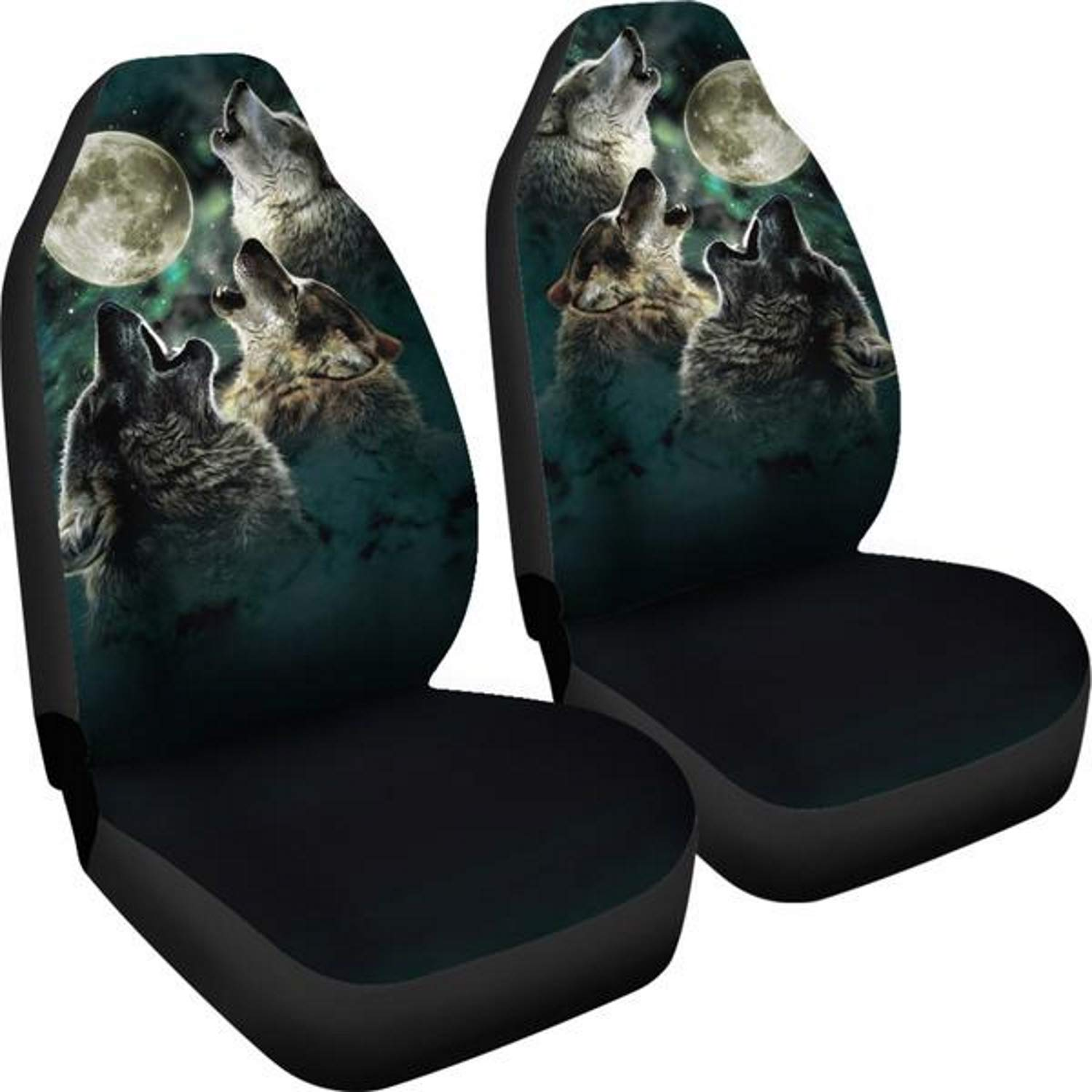 Muggalicious Three Wolves Howling at The Moon Universal Fit Car Seat Cover Set