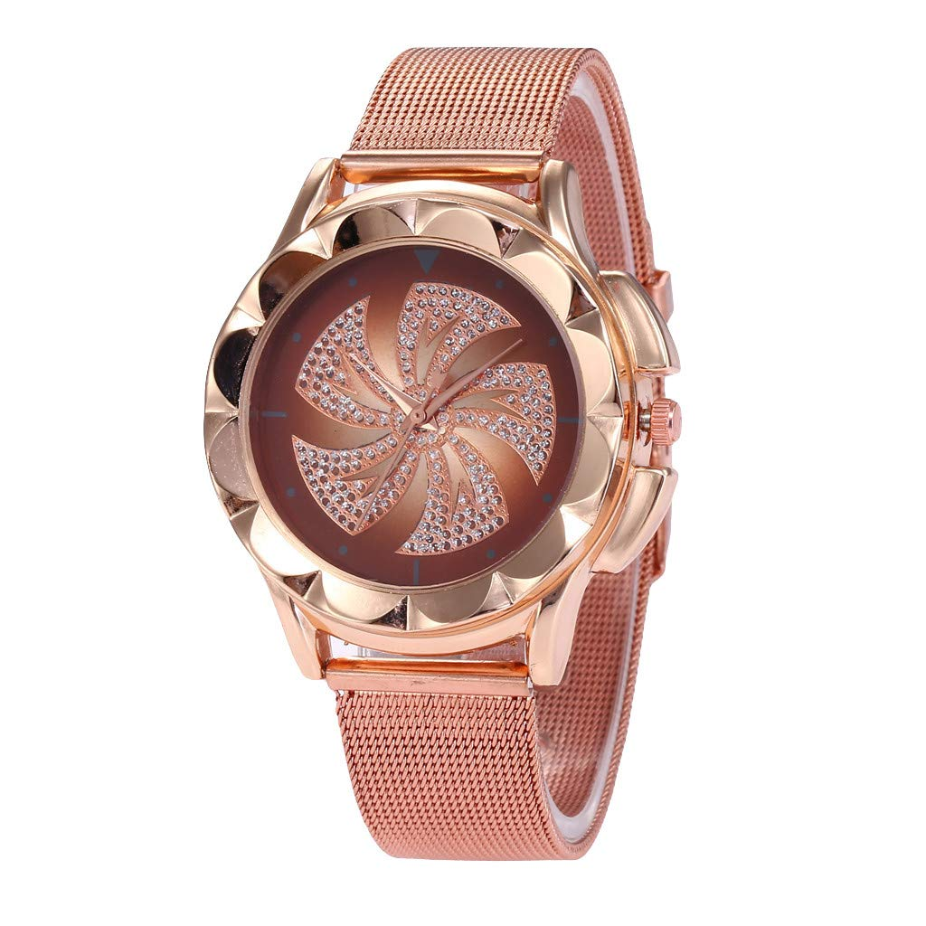 Toponly Quartz Watches for Women Stainless Steel Dial Leather Strap Band Simple Rose Gold