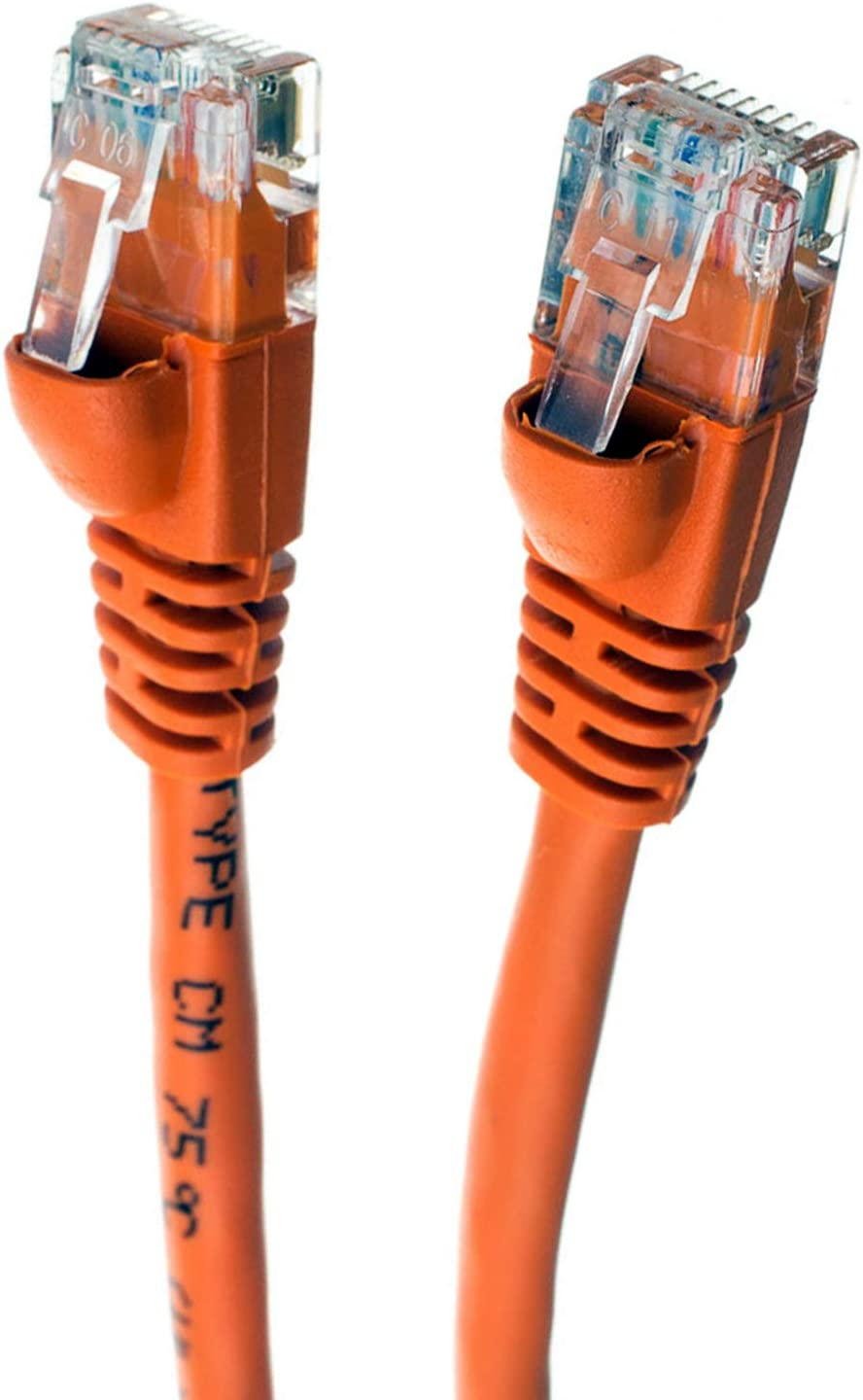 UTP Computer Network Cable with Snagless Connector Cat5e Ethernet Cable GOWOS 5-Pack RJ45 10Gbps High Speed LAN Internet Patch Cord 75 Feet - Orange Available in 28 Lengths and 10 Colors
