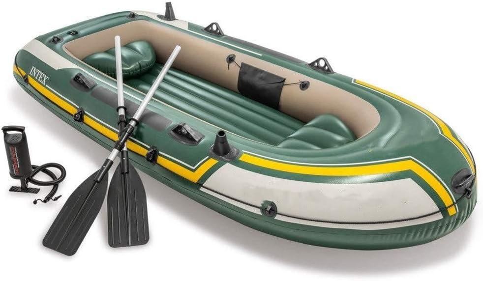 耐久性のある3人用インフレータブルボートカヤックゴム製ボート、インフレータブル肥厚屋外インフレータブル漁船 簡単なインフレ/デフレ (色 : 緑, サイズ : 295x137x43 cm) 緑 295x137x43 cm
