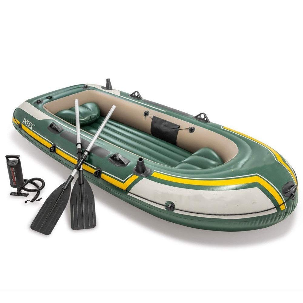Durability Inflatable Kayaks Durable Three-Person Inflatable Boat Kayak Rubber Boat, Inflatable Thickening Outdoor Inflatable Fishing Boat (Color : Green, Size : 295x137x43 cm) by BoeWan