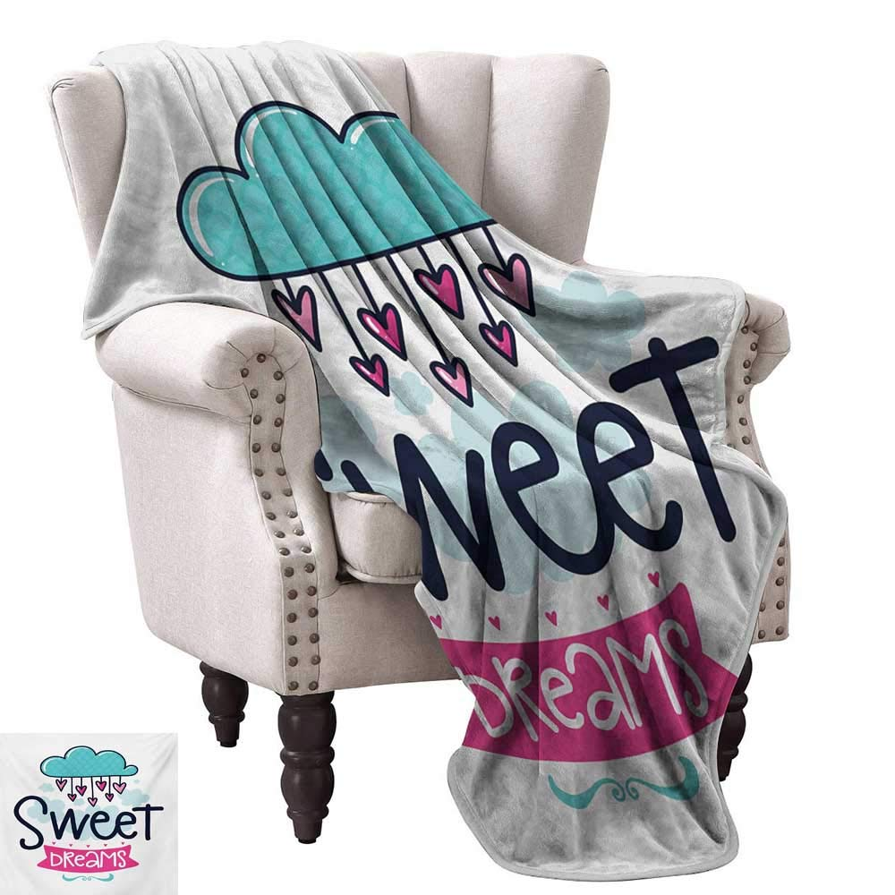 color01 60\ WinfreyDecor Sweet Dreams Home Throw Blanket Cartoon Hanging Hearts from a Cloud with Scale Pattern Simplistic Kids Design All Season for Couch or Bed 60  Wx60 L Multicolor