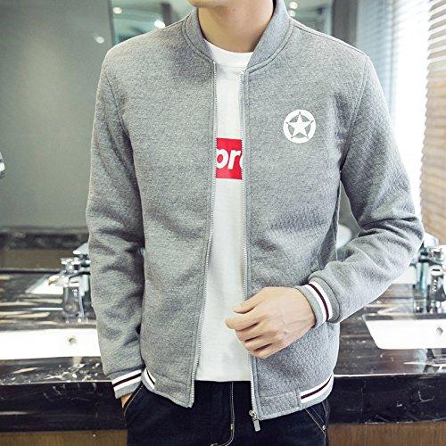 Hombres chaqueta casual hombres distan mucho de estilo casual para hombres tejida de Sau, gris ,XXXXL
