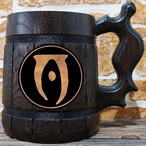 Elder Beer (The Elder Scrolls Oblivion Wooden Beer Mug, The Elder Scrolls Engraved Beer Mug Gift, Oblivion Mug, TES Handmade Wooden Mug, Copper Label, TES01C)