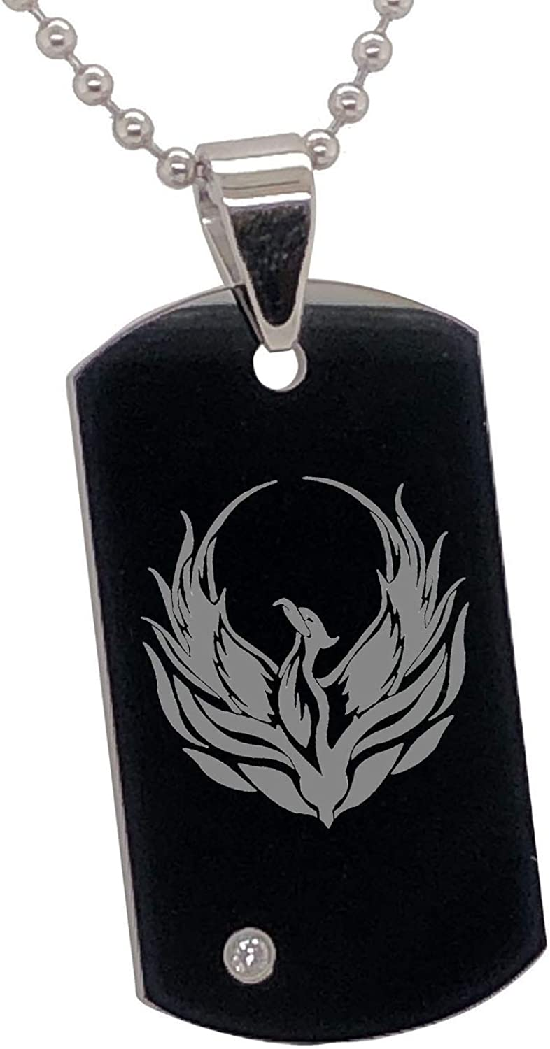 FlameReflection Tungsten Dog Tag Necklace for Men Silver Black Phoenix Engrave Sign Pendants Men Women 24 Ball Chains