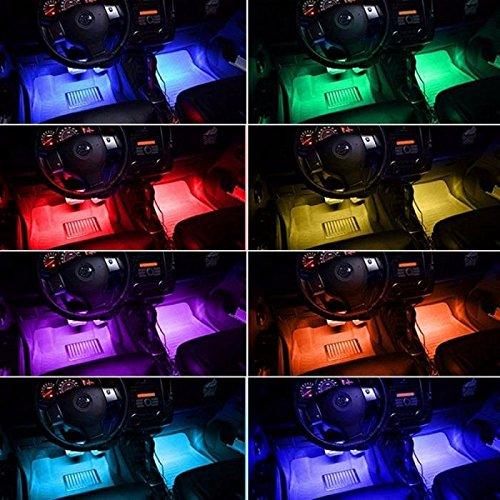 With Sound-activated Car Decorative Lights 4pcs 48 LED Lights DV 12V Car Colorful Music RGB LED Interior Lighting Remote Controller Car Charger Included Wanmingtek AUTODELIGHTS Automotive LED Decor Strip Lights