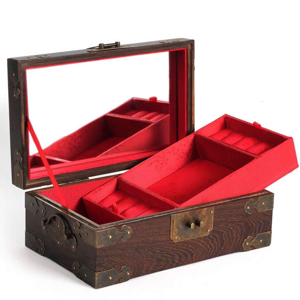 YZ-YUAN Cajas para Joyas Cofres para Joyas, Caoba de Doble Capa ...