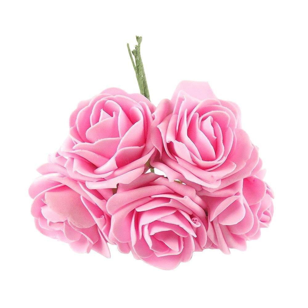 BABYHYY Bunch 5 Lサイズ ソフトフォームローズ - 人工ウェディングフラワーシルクプレミアムフェイク[スカイブルー] One Size ピンク TGHJUNGP962882 B07GD22NJY ピンク One Size
