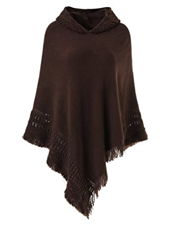 Ferand Ladies Hooded Cape With Fringed Hem Crochet Poncho Knitting