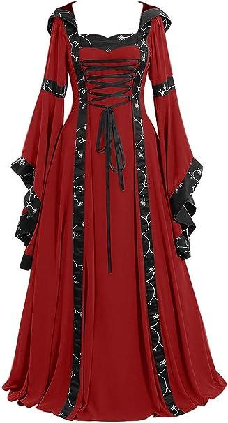 Lecoyeee Vestido Medieval Mujer Disfraz Vintage De Medieval con ...