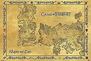 Póster Game of Thrones (Juego de Tronos) Mapa antiguo de Westeros y Essos Ponient (91,5cm x 61cm) + 1 póster sorpresa de regalo