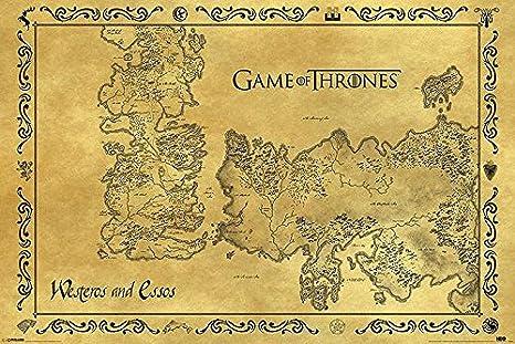 Westeros Karte Hd.Amazon De Game Of Thrones Poster Westeros Essos Karte