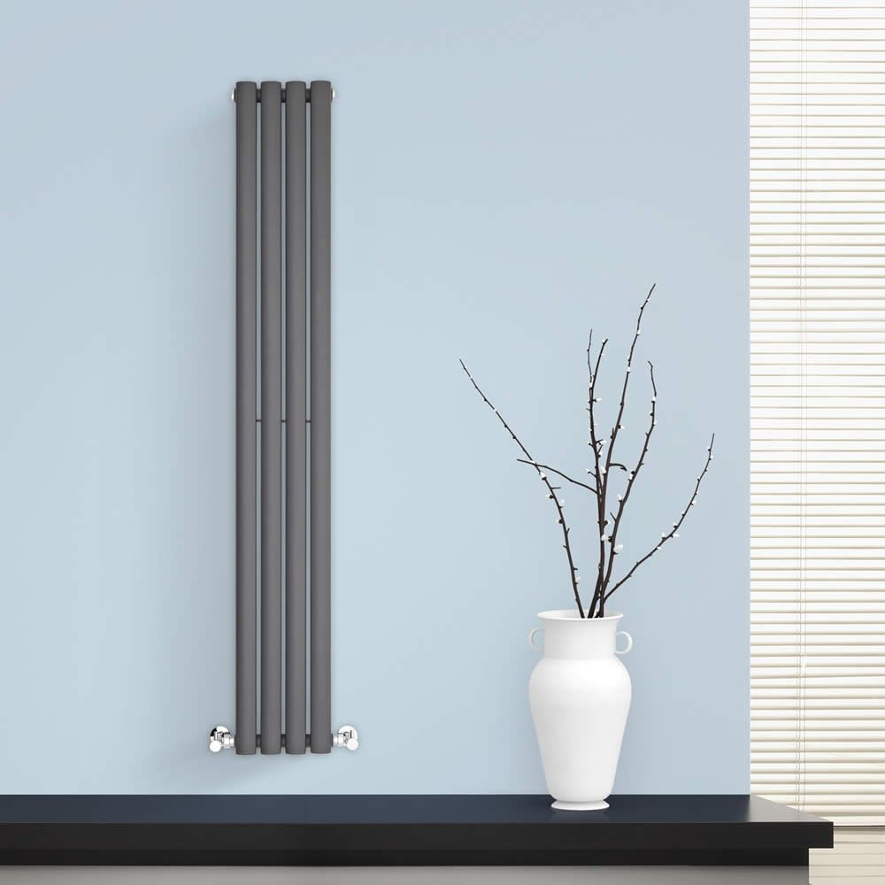 BestBathrooms Anthracite Vertical Designer Radiator - 1400 x 236 mm ...
