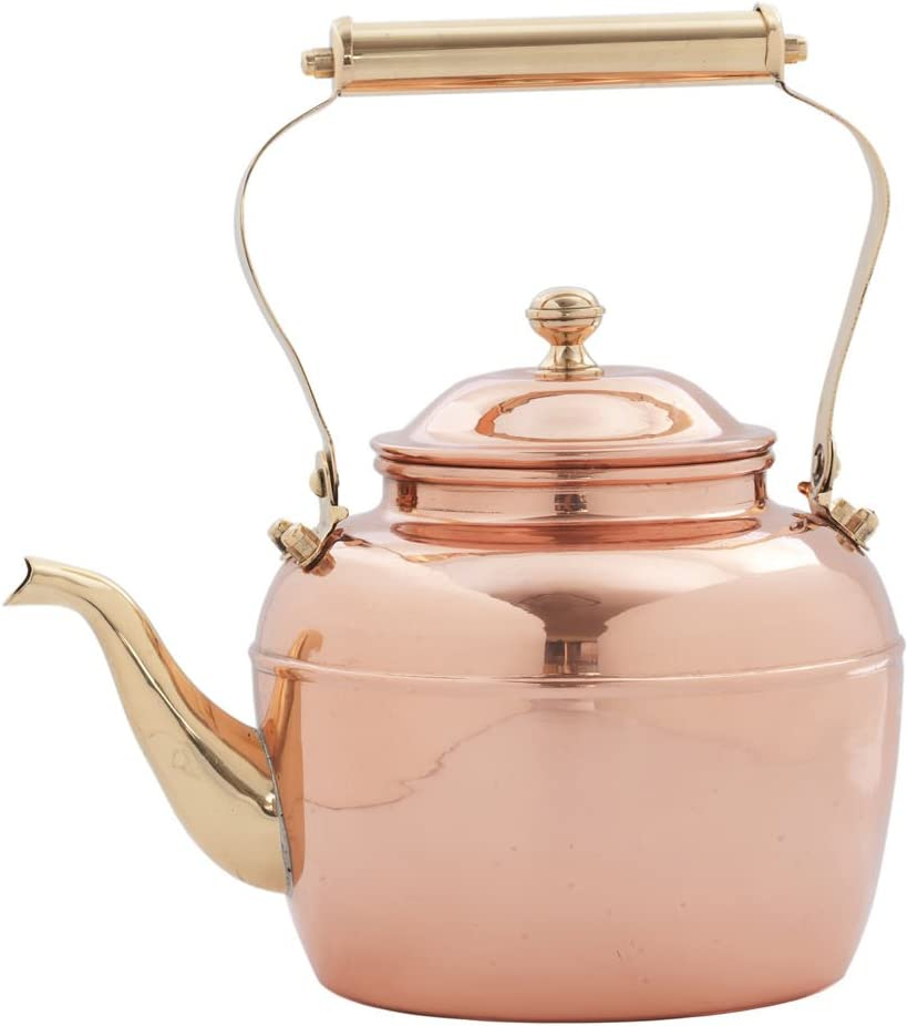 Old Dutch Teakettle, 2½ Qt, Copper, Brass