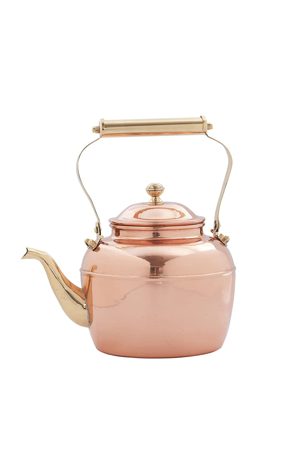 2.5-Quart Old Dutch Solid Copper Teakettle with Brass Handle