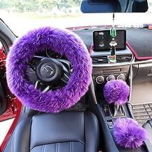 "Yontree Winter Warm Faux Wool Handbrake Cover Gear Shift Cover Steering Wheel Cover 14.96""x 14.96"" 1 Set 3 Pcs (Purple)"