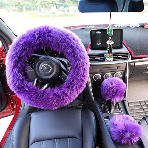 Yontree Winter Warm Faux Wool Handbrake Cover Gear Shift Cover Steering Wheel Cover 14.96x 14.96 1 Set 3 Pcs (Purple)