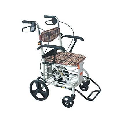 Amazon.com: QQ_SUN Wheel Walking Frame Old Walker Height Adjustable Foldable with Armrest Support Pad Trolley Shopping Cart Simple Wheelchair: Health ...