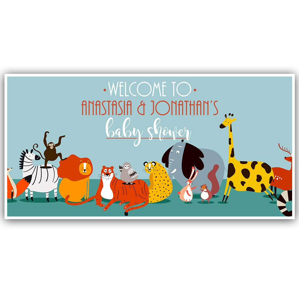 Animal Backdrop Baby Shower Banner Personalized Decoration