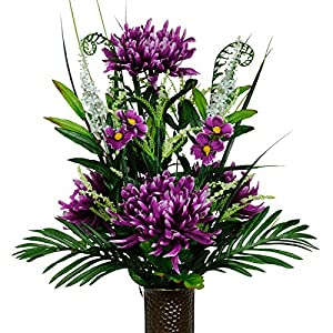 Ruby's Silk Flowers Purple Spider Mums Artificial Bouquet, Featuring The Stay-in-The-Vase Design(c) Flower Holder (MD1554) 74