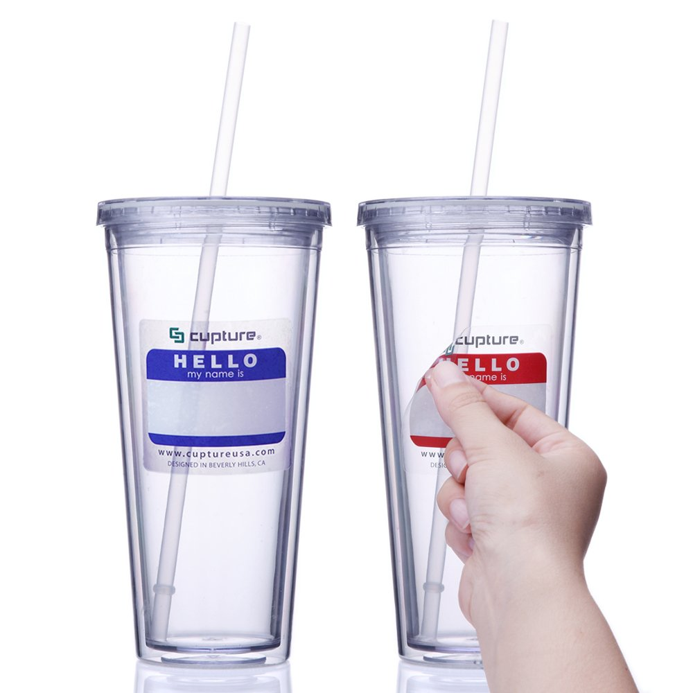Cupture Classic Insulated Double Wall Tumbler Cup with Lid, Clear, 24 oz, Pack of 2