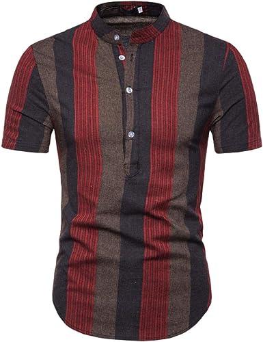 Camisa De Manga Corta Camisa De Contraste De Tela Escocesa para Hombre, Ropa Interior, Ropa Exterior, Cuello De Soporte A1: Amazon.es: Ropa y accesorios