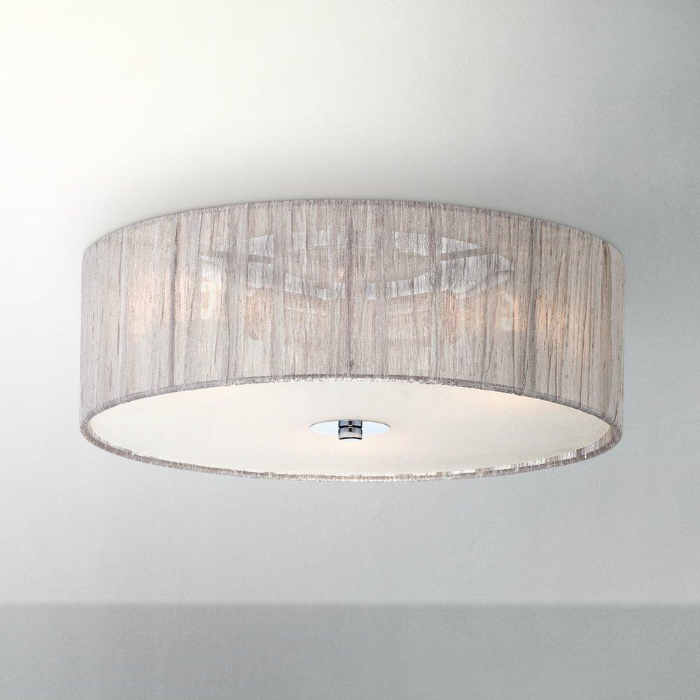 Possini euro sheer 16 wide silver fabric ceiling light flush possini euro sheer 16 wide silver fabric ceiling light flush mount ceiling light fixtures amazon aloadofball Gallery