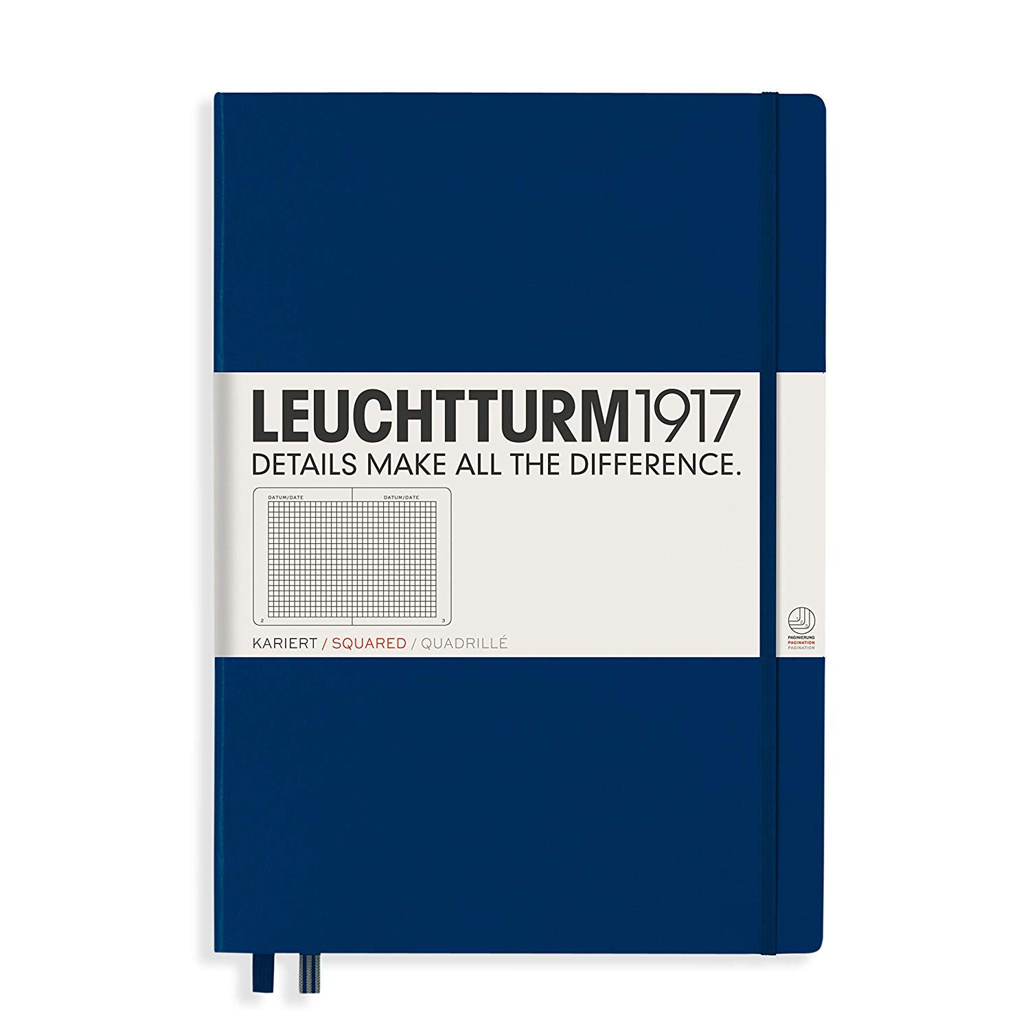Leuchtturm1917 Hardcover A4+ Master Classic | Squared Notebook | Navy
