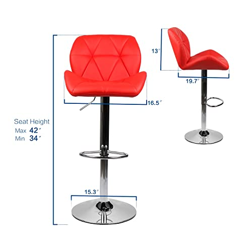 PULUOMIS Set of 4 Shell Shaped Chair Bar Stools Modern Hydraulic Adjustable Swivel Barstools, Leather Padded with Back, Dinning Chair with Chrome Base,Red
