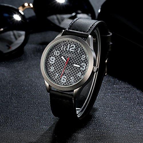 Gaiety Men's Black Dial Leather Watch Analog Quartz Arabic Numbers G001