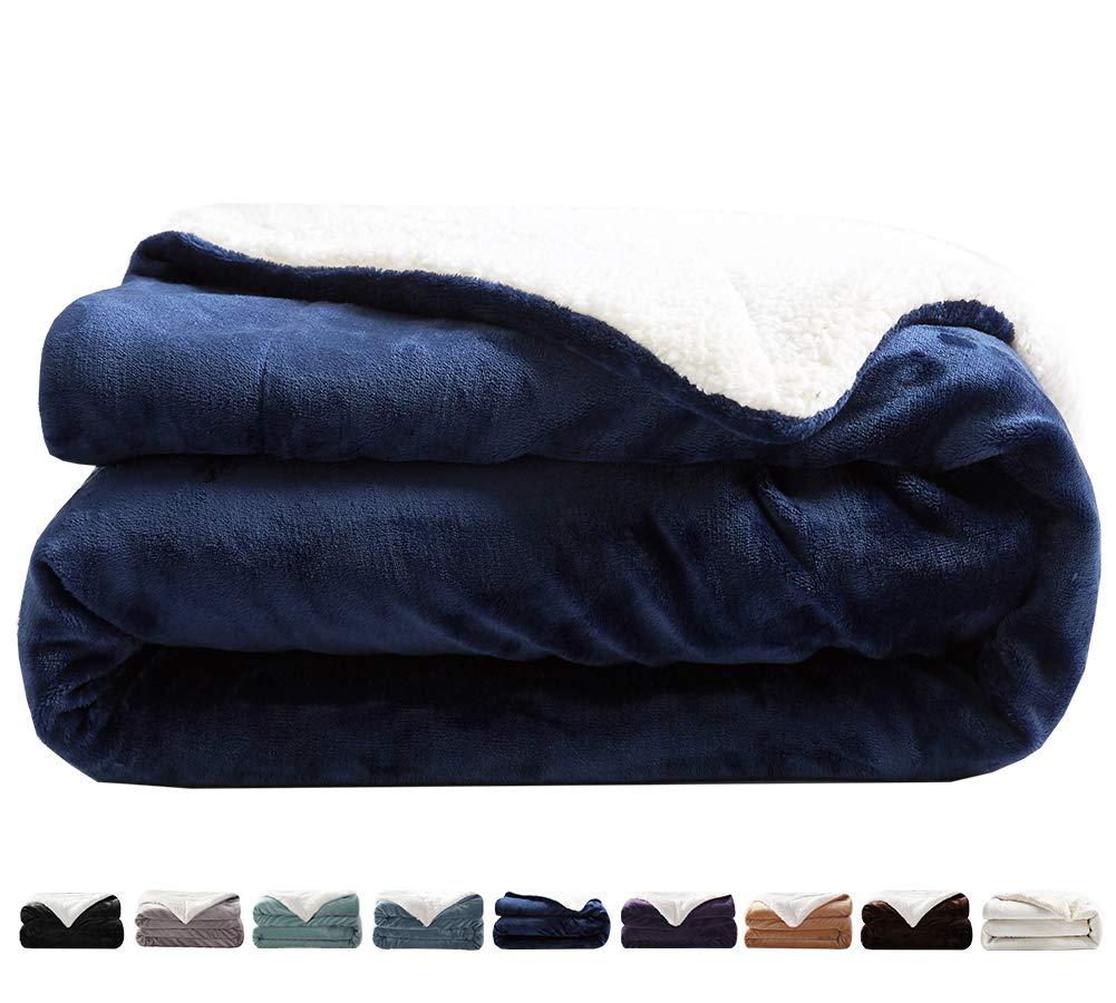 "LIANLAM Sherpa Fleece Blanket King Size Dual Sided Blanket Super Soft and Warm Fuzzy Plush Cozy Luxury Big Bed Blankets Microfiber (Royal Blue, 104""x90"")"