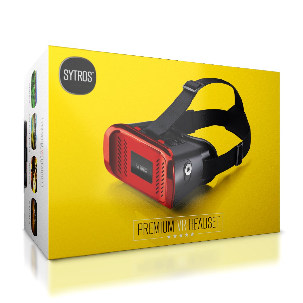 Premium Virtual Reality VR Headset w/ Magnetic Button Trigger by Sytros, Lightweight VR Goggles Glasses for Apple iPhone Android & Samsung Smartphones