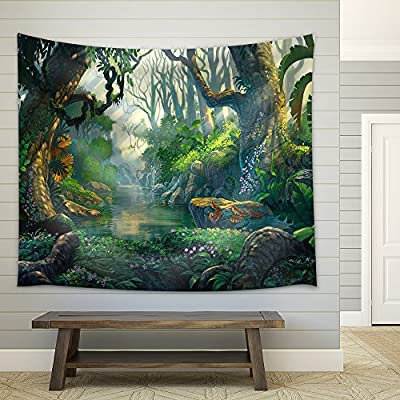 Original Creation, Beautiful Portrait, Illustration Fantasy Forest Background Illustration Painting Fabric Wall