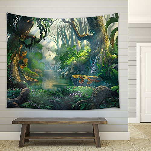 Illustration Fantasy Forest Background Illustration Painting Fabric Wall