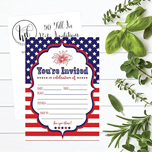 50 4th Of July Summer BBQ Party Invitations For Children