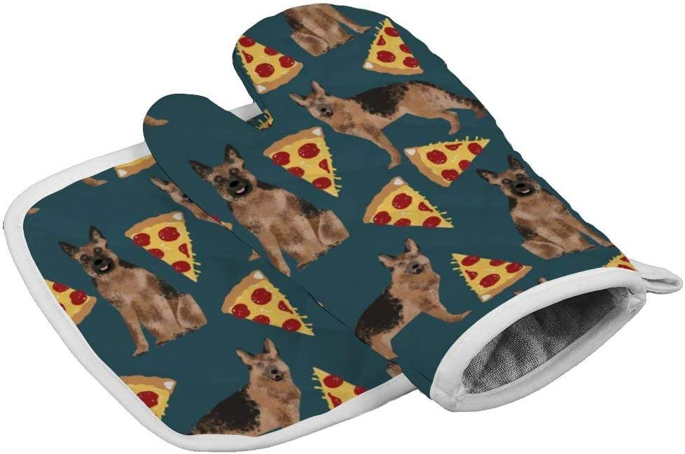 QSMX Heat Resistant Oven Mitts and Cotton Pot Holders Non Slip Oven Gloves for Kitchen Cooking Baking, BBQ, Grilling Machine Washable (German Shepherd Pizza, One Size)